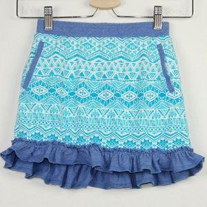 Garnet Hill Blue Skort Pull On Elastic Waist Skirt